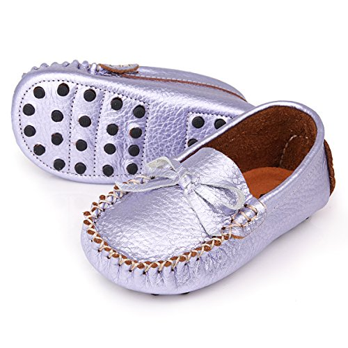 Augusta Baby Leather Loafers Boat Shoes Slip-on Moccasins with Gommino Sole - Safety Certified Genuine Leather - Metallic Lavender - US Toddler 9