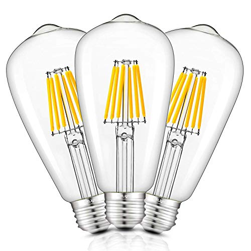 CRLight 6W Dimmable Edison Style Vintage LED Filament Light Bulb, 3000K Soft White 600LM 60W Incandescent Replacement, E26 Medium Base Antique ST64 Clear Glass Light Bulbs, 3 Pack