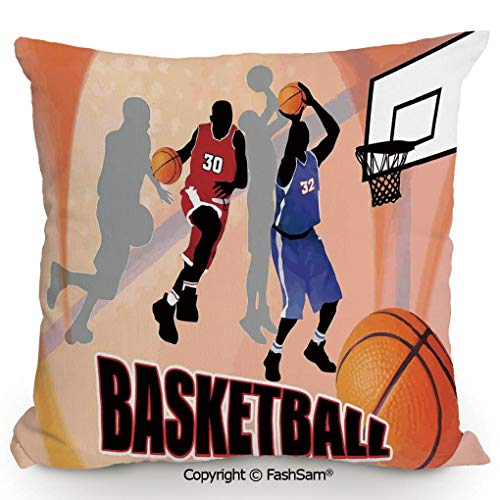 FashSam Throw Pillow Covers Basketball Action Players on Abstract Background Classical Poster Style Illustration for Couch Sofa Home Decor(18