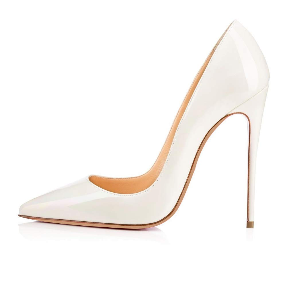 White CAITLIN-PAN Womens 12cm High Heels Pointed Toe Slip On Stilettos Leather Party Dress Pumps Size 5-15 US