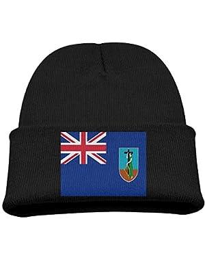 Flag Of Montserrat Kid's Hats Winter Funny Soft Knit Beanie Cap Children Unisex
