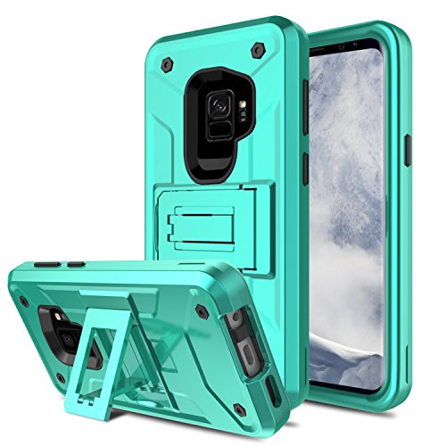Galaxy S9 Case, Venoro Slim Shockproof Anti Scratch Hybrid Three Layer Rugged Bumper Defender Armor Protective Combo Case Cover for with Kickstand Samsung Galaxy S9 / SM-G960U / SM-G960F (Light Green) - Kickstand Combo