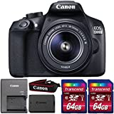 Canon EOS 1300D/T6 18MP DSLR camera with 18-55mm Lens and Two 64GB Memory Cards