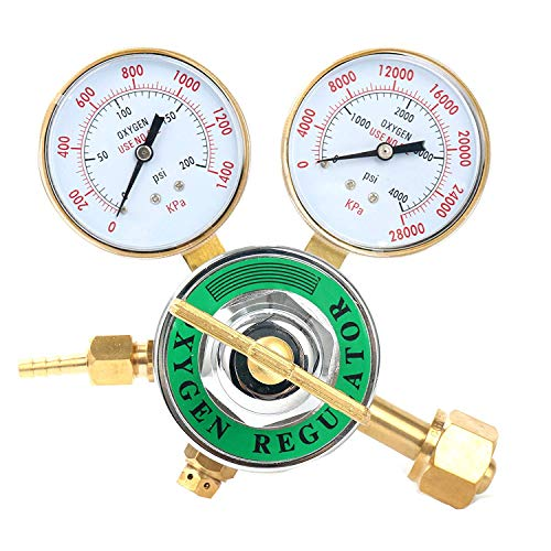 Yaetek Oxygen Regulator Large Tank Gauge Cutting Torch Regulator Outlet 0-200PSI Inlet 0-4000PSI CGA 540 Compatible with Harris ()