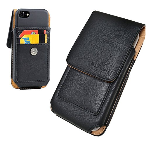 AIScell Cellphone Wallet Case [Vertical Black Leather Sleeve Flip Pouch Swivel Belt Clip Holster...