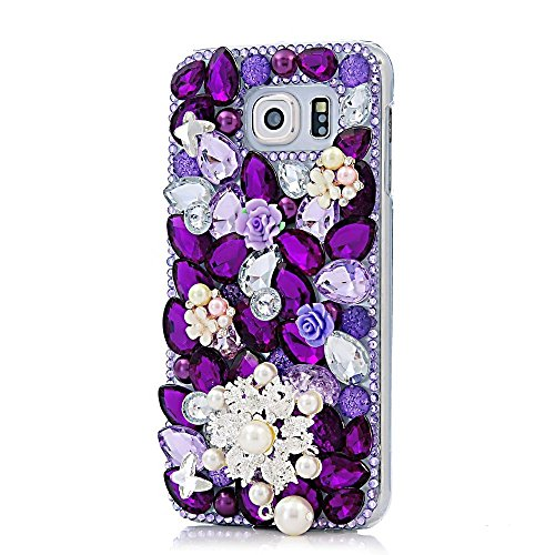 KAKA(TM Pearls Snowflake Butterfly Style Bling Purple Crystal Rhinestone Clear Back Cover Hard Case for Samsung Galaxy S6 Edge Plus S6 - Pearl Viridian