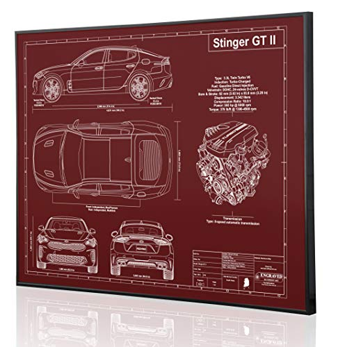 (Kia Stinger GT II Blueprint Artwork-Laser Marked & Personalized-The Perfect Kia Gifts)