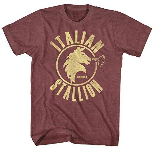 Rocky T-Shirt Distressed Italian Stallion Maroon Heather Tee, XL