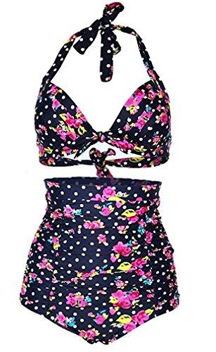 Hihihappy Trendy Womens Flora Polka Dot Vintage High Waisted Push Up Bikini Set Swimsuits Black FloralAsian XL (US 6-8,UK 10-12,EU 36-38) (Top Ten Wholesale Review)