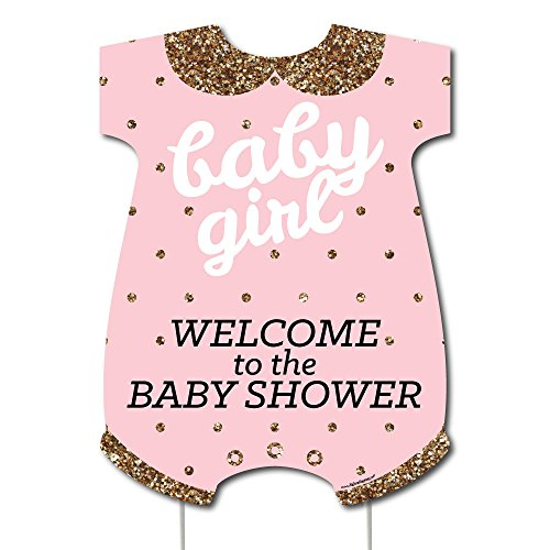 Big Dot of Happiness Hello Little One - Pink and Gold - Party Decorations - It's A Girl Baby Shower Welcome Yard Sign -