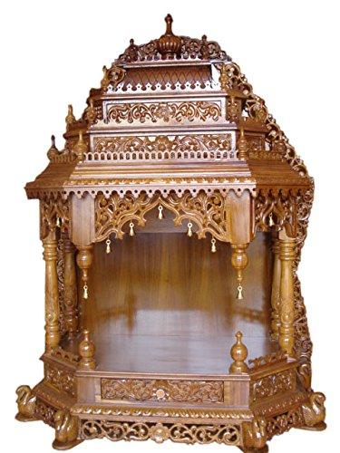 Swaroop Carvings Handcrafted Teak Wood Pooja Mandir