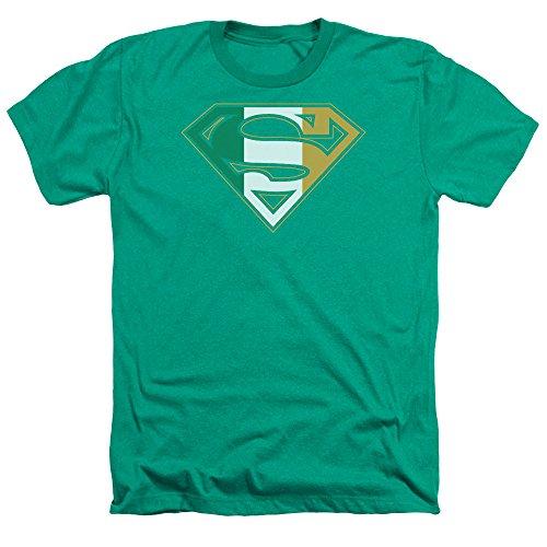 Superman Irish Shield Mens Heather Shirt Kelly Green XL