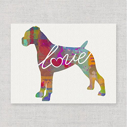 Boxer (Uncropped Ears) Love - Watercolor-Style Print/Poster on Fine Art Paper - Can Be Personalized