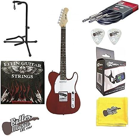 Stagg t320-tr rojo estándar tele guitarra eléctrica w/EFFIN ...