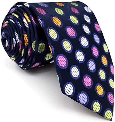 S5 Shlax&Wing Extra Long Size Dots Blue Multicolor Mens Neckties Ties Silk