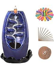 SOLEJAZZ Återflöde Rökelsebrännare vattenfall keramisk rökelsehållare med 120 rökelsekoner + 30 doftpinnar för hemmakontor yoga ausmatcherapi dekoration, marinblå