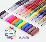 Acrylic Paint Marker Pens, Sinzau 12 Colors Permanent Marker 0.7mm line Thickness, Non-Toxic, for Painting Stones, Ceramics, Glass, Canvas, Cups, Wood and Easter Eggs