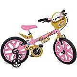 """Bicicleta Aro 16"""" Princesas Disney Bandeirante Rosa"""