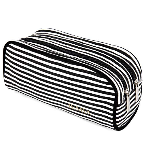 JEMIA - Canvas Pencil Case with Black and White Stripes, 2 Zipper Compartments Organizer Storage - School Pen Zipper Pouch Bag to Hold Pencils, Marker Supplies for Teen Girls, Boys, Kids