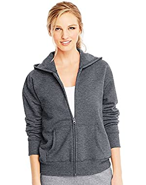 Hanes ComfortSoft EcoSmart Women's Full-Zip Hoodie Sweatshirt_Slate Heather_XL