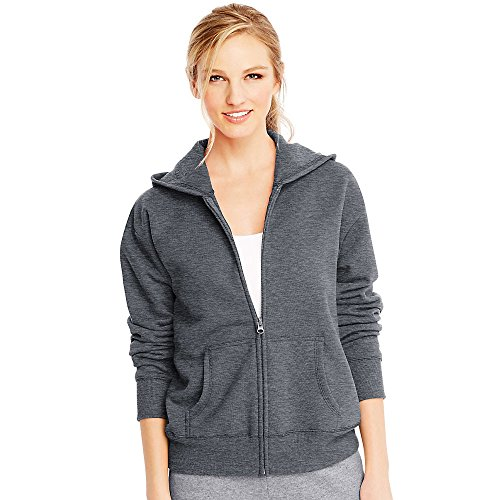 Hanes ComfortSoft EcoSmart Womens Full-Zip Hoodie Sweatshirt_Slate Heather_M