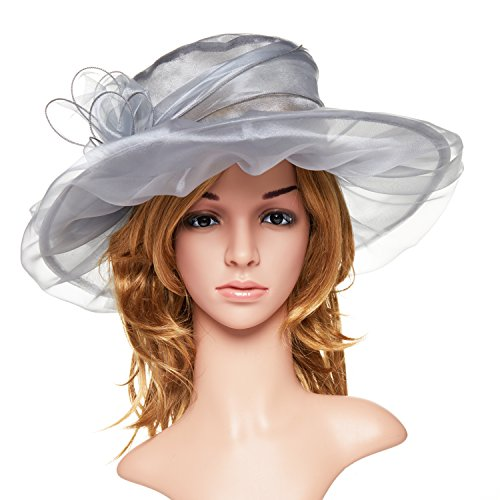 Kentucky Derby Hats, Fancy Spring Church Victorian Hats and Caps, Summer Fascinator Flat Wide Brim Tea Party Hats,Easter Hat for Womens and Ladies,Gray