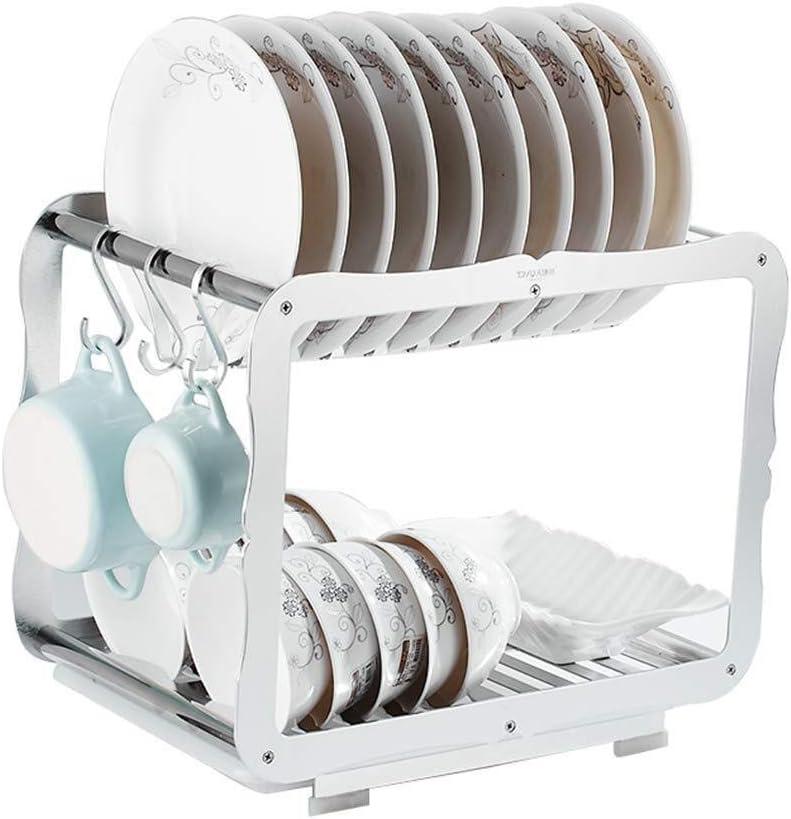 キッチン用ダブルプレートラック水切り器、2段皿水切り器ラックホルダーキッチンシェルフドレンバスケットキッチン収納ラックスパイスラック(色:B)