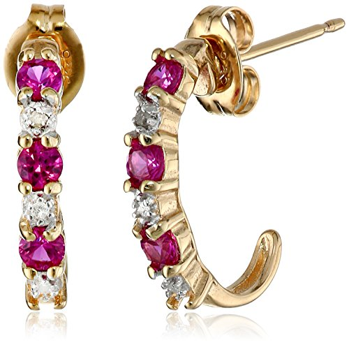 Diamond & Ruby Earrings (18k Yellow Gold Plated Sterling Silver Created Ruby and Diamond Accent C-Hoop Earrings)