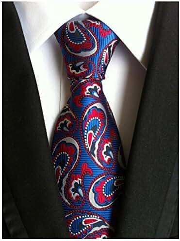 Allbebe Men's Floral Blue Red Jacquard Woven Silk Tie Microfiber Formal Necktie