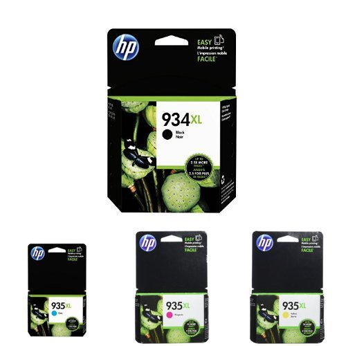 HP 934XL High Yield Black and HP 935XL High Yield Cyan Magenta Yellow Ink Cartridge Bundle (C2P23AN - C2P24AN - C2P25AN - C2P26AN)