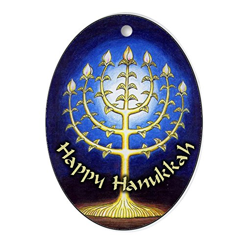 CafePress - Gorgeous Happy Hanukkah Menorah Oval Ornament - Oval Holiday Christmas Ornament