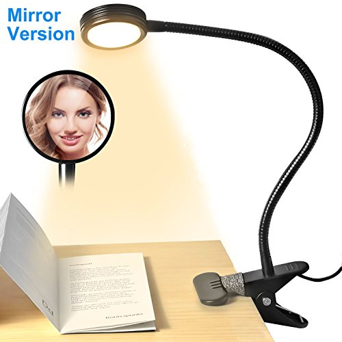 Clip on LED Desk Lamp Night Light with Clamp/Mirror, Adjustable 3 Light Modes and 2 Brightness Levels for Desk, Bed Headboard and Computers, Perfect Fit Home Office Reading, Working, Studying (Black)
