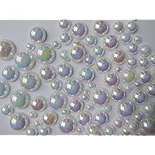 300 pcs 2mm - 10mm DIY Art Faux Pearls Flatback Mix Colors Size ~ M1-10 (White AB)