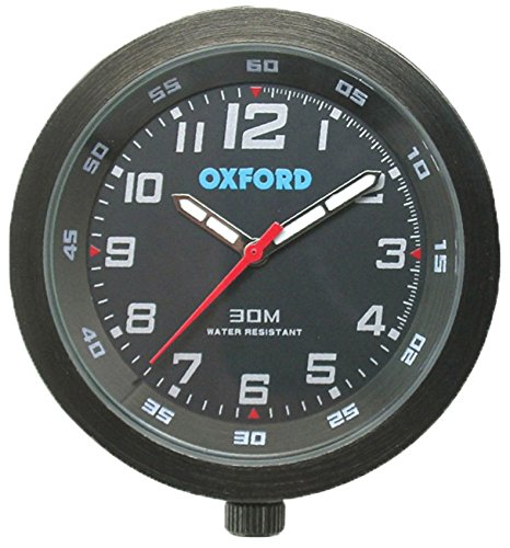 Oxford OX559 AnaClock Analogue Handlebar Clock Black Face & Case Motorcycle