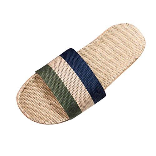 Women Men Anti-slip Linen Home Slippers Unisex Indoor Summer Open Toe Flats Shoes Soft Slippers by Kolylong (EU 40, Green)