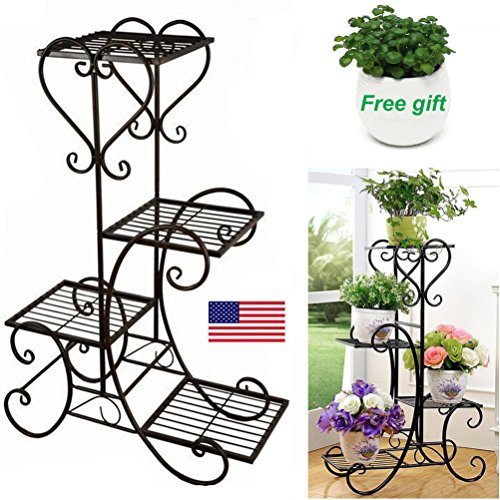 Cheap  TF-Godung 4 TIER Metal Shelves Flower Pot Plant Stand Display Indoor Outdoor..