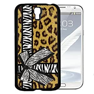 Brown Cheetah Leopard Background Pattern with Zebra Bow Tied Around Background Hard Snap on Cell Phone Case Cover Samsung Galaxy S4 I9500