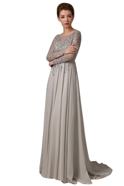 Snowskite Women's Sexy Backless Long Sleeves Prom Evening Dress Grey 6