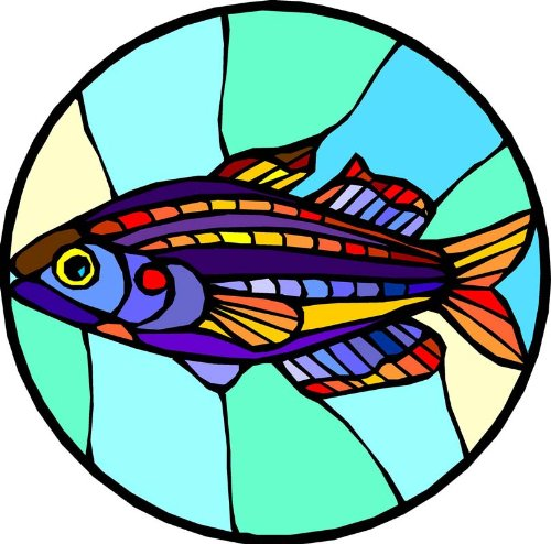 Tropical Fish with Colored Stripes - Etched Vinyl Stained Glass Film, Static Cling Window (Custom Static Cling Decals)