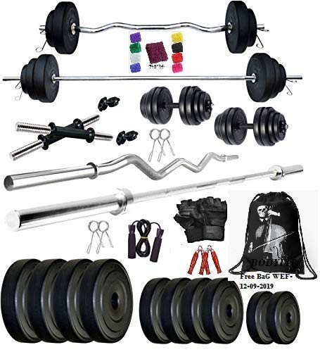 BodyFit 20Kg Weight Plates, 5 ft Rod, 3 ft Curl Rod, 2D.Rods Home Gym Dumbbell Set – Multicolour