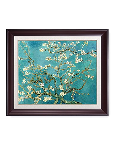DECORARTS - Almond Blossom Tree - Vincent Van Gogh Reproduction. Giclee Print w/Silver Frame for Wall Decor. Total with Framed Size: 28x24 ()