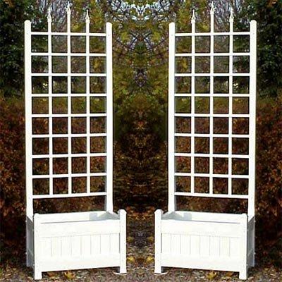 BestNest Dura-Trel Camelot Planter Trellises, White, 80'' H, Pack of 2