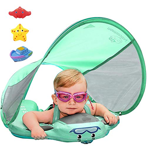 Upgrade 3rd Generation Baby Infant Soft Solid Non-inflatable Float Lying Swimming Ring Children Waist Float Ring Floats Pool Toys Swim Trainer Classic Sunshade Swim Ring with Sun Canopy (green C)