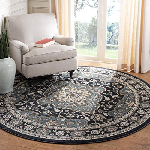 Safavieh Lyndhurst Collection LNH338C Oriental Anthracite and Teal Round Area Rug 7' Diameter