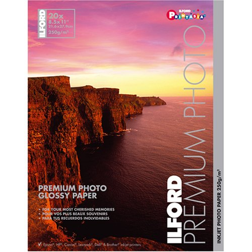 Ilford Premium Glossy 8 1/2 x 11 Inch Photo Paper 20 Sheets -