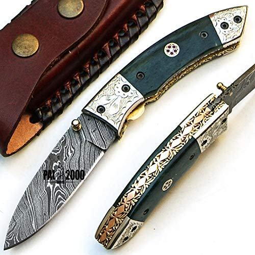 SBJJ-9455 Custom handmade Damascus Steel Hunting Folding Pocket knife 7.4 Inches Stained Camel Bone Handle new Pattern Blade with Sheath Amazing art with Copper and Brass in the Handle sword dagger