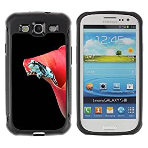 LASTONE PHONE CASE / Suave Silicona Caso Carcasa de Caucho Funda para Samsung Galaxy S3 I9300 / Flower Black Frog Dark Minimalist