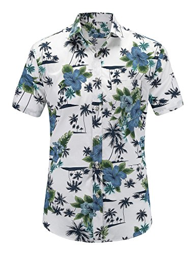 JEETOO Mens Casual Flower Print Hibiscus Short Sleeve Hawaiian Aloha Shirt