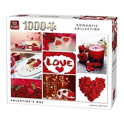 King 5764 Puzzle Da 1000 Pezzi Romantica Collection San Valentino Rosso 68 X 49 Cm
