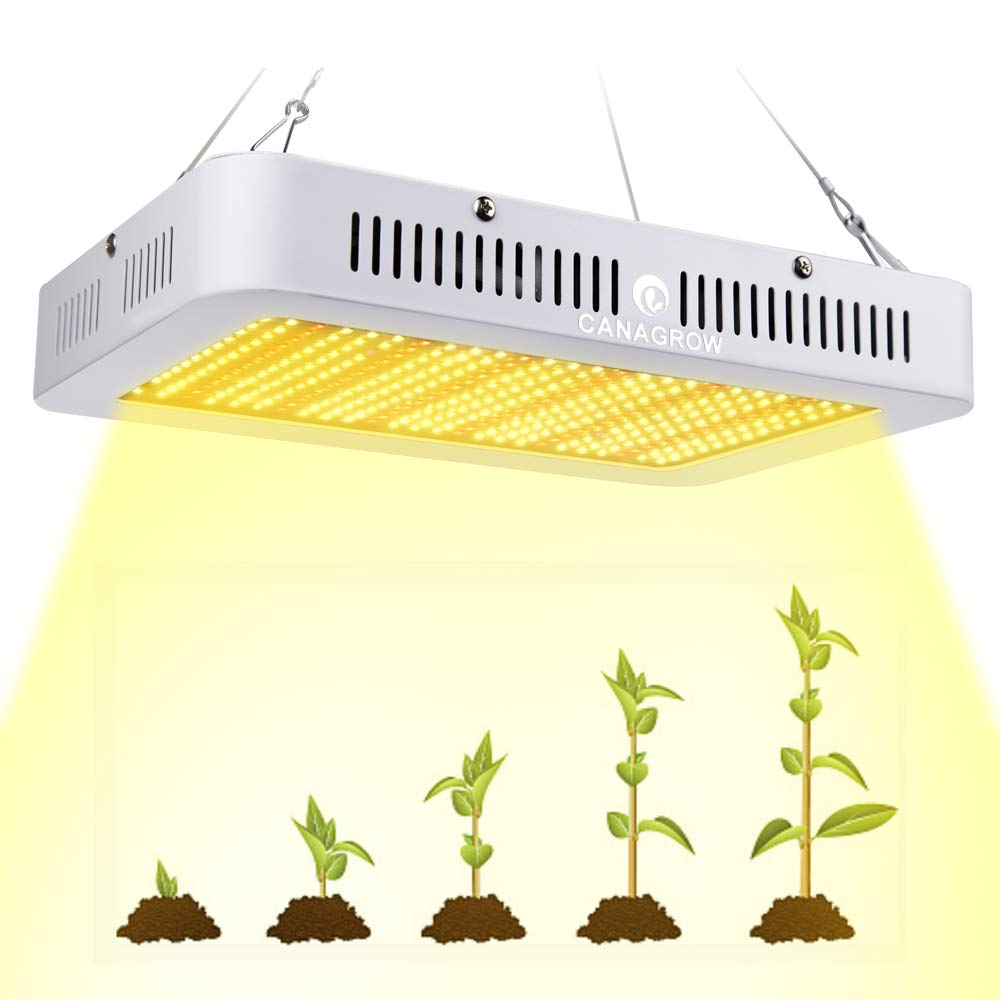 CANAGROW 1000W Full Spectrum LED Grow Light for Indoor Plants, Plant Growing Lamp with Daisy Chain Function, Sunlike 3500K Red UV IR Light for All Growth Stage
